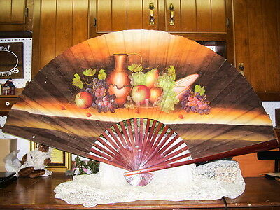 Antique Handpainted Oriental Fan Grapes Ivy Fruit Wine Large 3' X 5' Wall Size