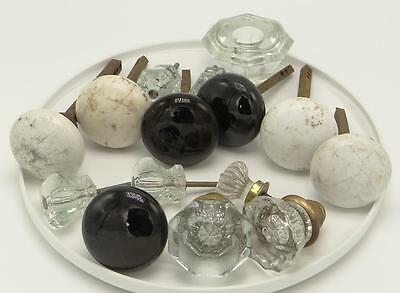 Lot White Black Ceramic Glass Antique Door Knobs Drawer Pulls