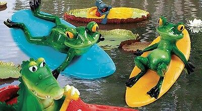 Floating animal Frog on Surfboard Assorted 23x13,5x10 cm Pond decoration