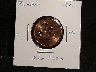 ZAMBIA:   1983      2 NGWEE    COIN     (UNC.)    (#3180)  KM # 10a
