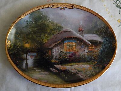 Collector's  Cottage Plate Thomas Kinkade's Scenes Of Serenity Oval Coa