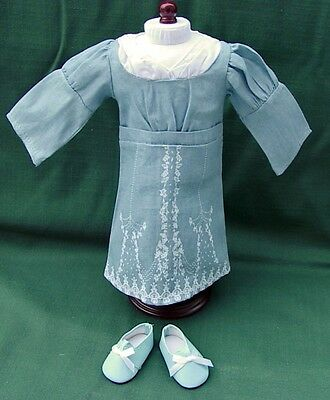 AMERICAN GIRL CAROLINE Retired PALE BLUE BIRTHDAY DOLL DRESS + SHOES REPRO MINT