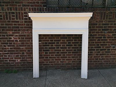 White Wood Mantel, Fireplace Surround, Federal Style Salvaged White 57x62.5x9""