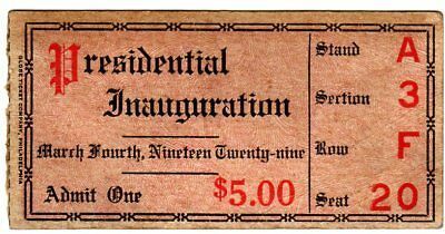 1929 Herbert Hoover Inauguration Parade Ticket