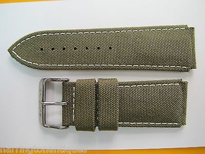 24Mm High Grade Military Style Canvas & Leather Strap W/ Steel Glycine Buckle #d