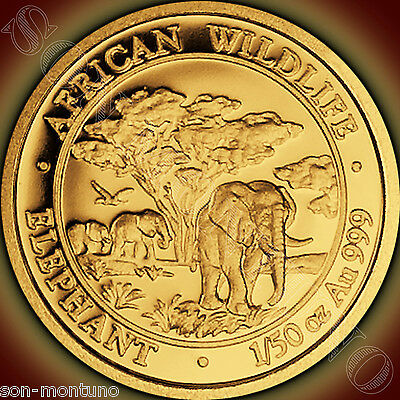 2012  SOMALIA GOLD ELEPHANT 1/50 Oz 24k  PROOF COIN in Capsule African Wildlife