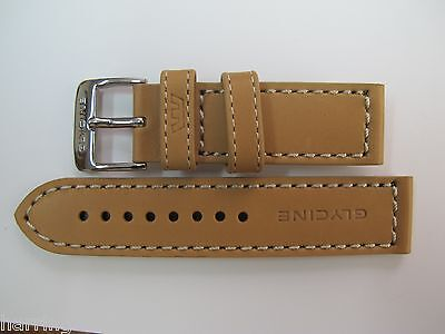 22Mm High Grade Toffee Brown Leather Strap & Steel Buckle By Glycine #z