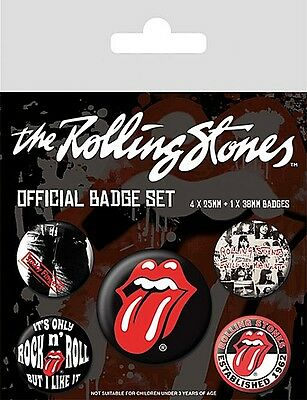 Rolling Stones pack of 5 round pin badges    (py)