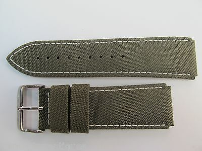24Mm German Made High Grade Green Camo Style Canvas & Leather Strap By Glycine