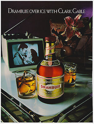 Original 1982 Drambuie Over Ice with Clark Gable Vintage Print Ad