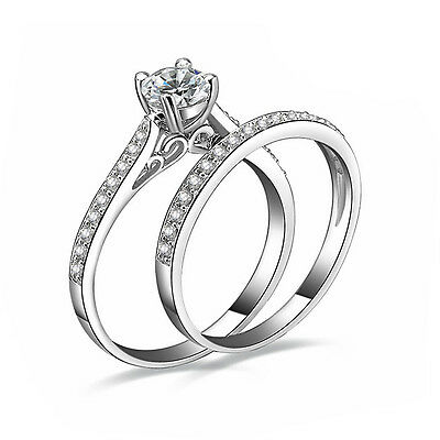 Women Engagement Wedding 2Pcs Ring Set Cubic Zirconia Silver Plated Ring Jewelry