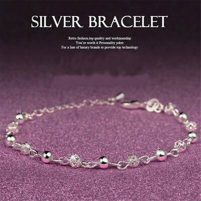 Women Fashion Silver Plated Bracelet Rhinestone Crystal Charm Chain Jewelry Gift