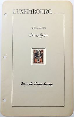 Jean Grand Duke Of Luxembourg Autograph Signed Album Page