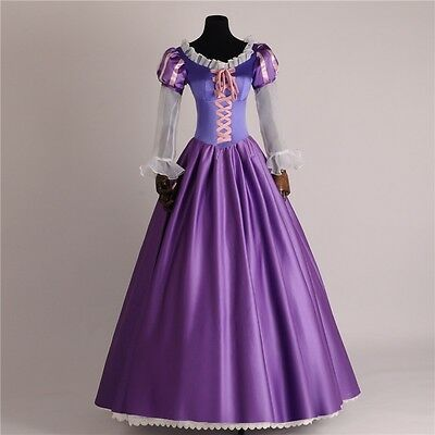 Halloween Tangled Fancy Costume Adults Rapunzel Dress Cosplay Outfit Custom