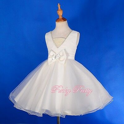 Diamond Pearls Dress Wedding Flower Girl Communion Bridesmaid Age 2y-11y FG258