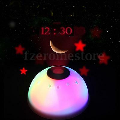 Color Changing Digital Alarm Clock Time Projector LED Night Light Star Moon Kids