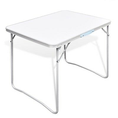 New Outdoor Camping Table 80x60cm Folding Picnic Aluminium MDF Garden BBQ Party