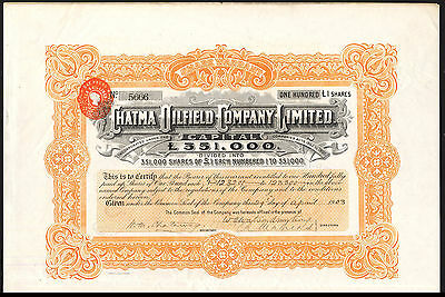 Chatma Oilfield Co. Ltd., 100 shares of £1, 1903, with coupons