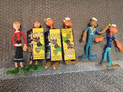 "VTG 1978 POPEYE & OLIVE OIL BENDABLE DOLLS 6"" & 7"" And One 1968 KING Lot Of 6 !"