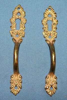 2 Antique Cast Iron Gold/Brass Filigre Key Lock Cover Pull Cupboard Door Handles