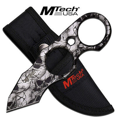 Mtech Skull Full Tang Finger Ring Tactical Combat Rescue Tanto Fixed Blade Knife