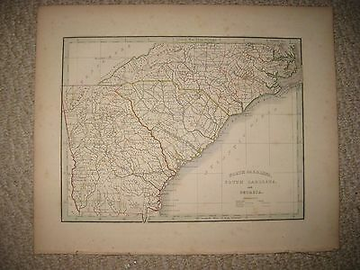 Early Antique 1835 North South Carolina Georgia Bradford Map Outer Banks Atlanta