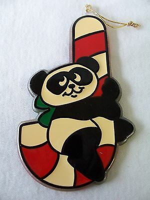 Hallmark Acrylic Christmas Tree Trimmers Ornament 1981 Panda on Candy Cane