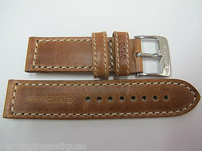 22Mm Glycine Tan Leather White Stitched Strap & Buckle #z2