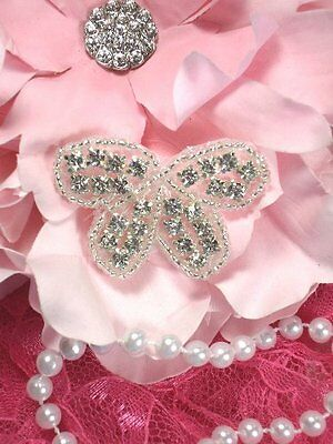 """XR133 Butterfly Bow Crystal Rhinestone Beaded Applique 1.75"""" ~ Sewing Crafts :)"""