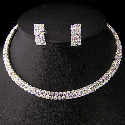 Wedding Prom Party Bridal Crystal Choker Necklace Earring GP Silver Jewelry /173