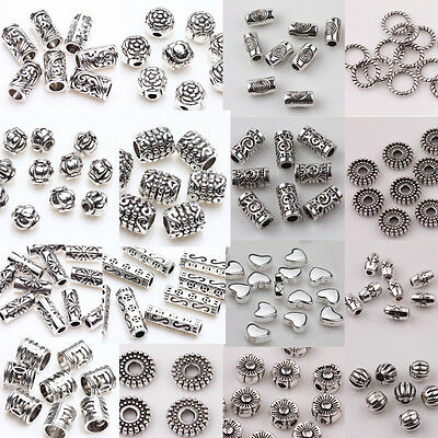 Lots 50/100PCS Silver Plated Loose Spacer Beads DIY Charms Crafts Jewelry Making