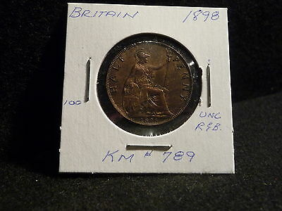 Uk (Great Britain):  1898  Half Penny   Victoria    (Unc.)   (#3789)  Km # 789