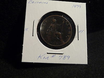 Uk (Great Britain):  1899  Half Penny   Victoria    (Ef.)   (#127)  Km # 789