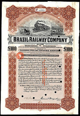 Brazil Railway Co., 5% Convertible Debenture,1912, £100, Waterlow