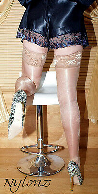 3 pairs Natural Luxury Gloss Shine LaceTop Hold Ups Stockings M, L, XL, XXL