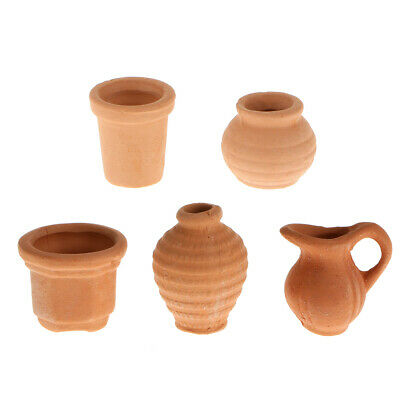 1:12th Ceramic Crocks Set 5 Pieces Dolls House Miniature Garden Accessory