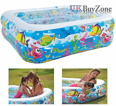 Sea Worlds Childs Large Square Inflatable Kiddie Paddling Swimming Garden Pool