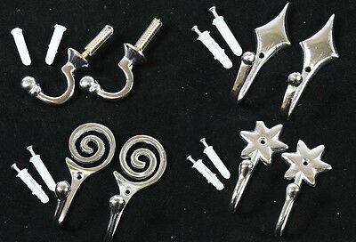 PAIR of Chrome Curtain Tie Back Hooks Ball End, Diamond, Spiral, Star Designs