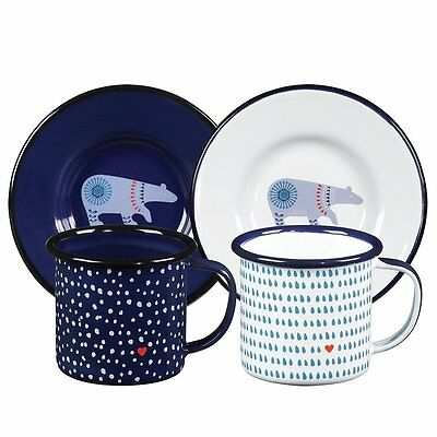 Wild & Wolf Folklore Enamel Espresso Set 2 Cups and Saucers Tea Coffee Gift
