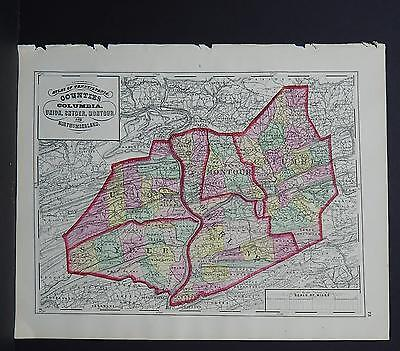Pennsylvania County Map 1872 Columbia Union Snyder Montour Northumberland J19#38