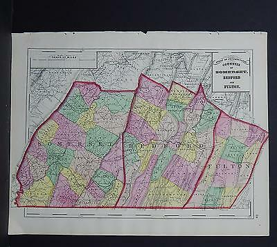 Pennsylvania, County Map, 1872 Somerset, Bedford, Fulton J19#35