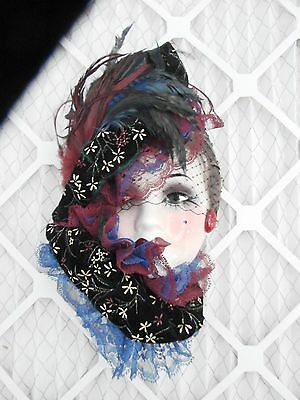 UNIQUE CREATIONS Lady Face Mask  Hanging Wall Decor Feathers Lace Signed,blue