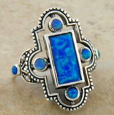 Blue Lab Fire Opal Antique Victorian Style .925 Sterling Silver Ring Size 9,#215