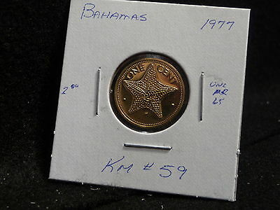 Bahama Islands:   1977   1 Cent  Coin Proof   (Unc.)    (#1265)  Km # 59