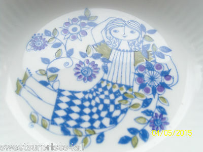 vintage norway figgjo coupe cereal bowl lady girl blue design