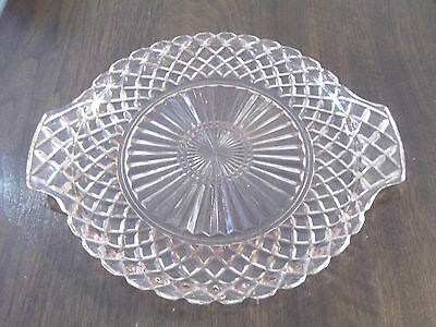 Vintage 1940's Pink Depression Glass Cake Plate Waterford Waffle Hocking Glass