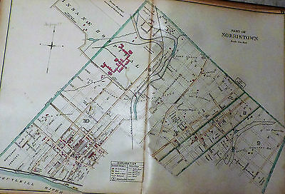 Part Norristown Wards Borough / Town Montgomery County Pa 1893 Antique Color Map