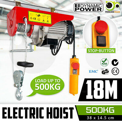 Electric Hoist 250/500kg 240V Remote Winch Tool Strong Cable Rope Chain Lifting