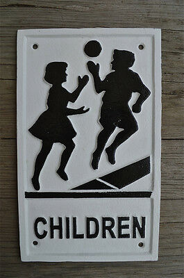 Cast iron vintage style children playing wall sign plaque S4