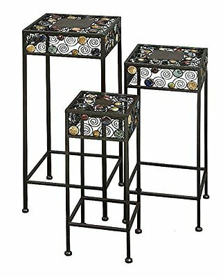 Deco 79 61531 Metal/Ceramic Plant Stand 12-Inch- 23.5-Inch- 29-Inch- Set of 3